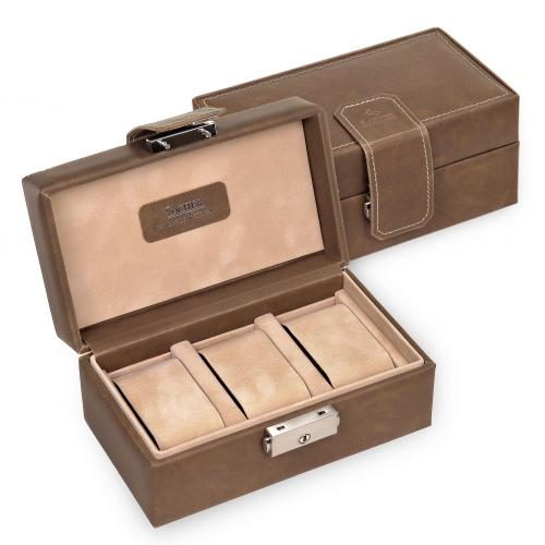 case for 3 watches / brown