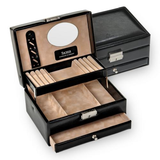 jewellery box Carola, black, new classic