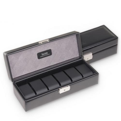 case for 6 watches , black, gents