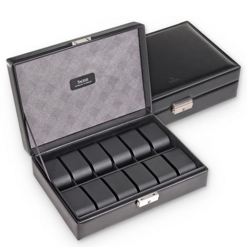 case for 12 watches , black, gents