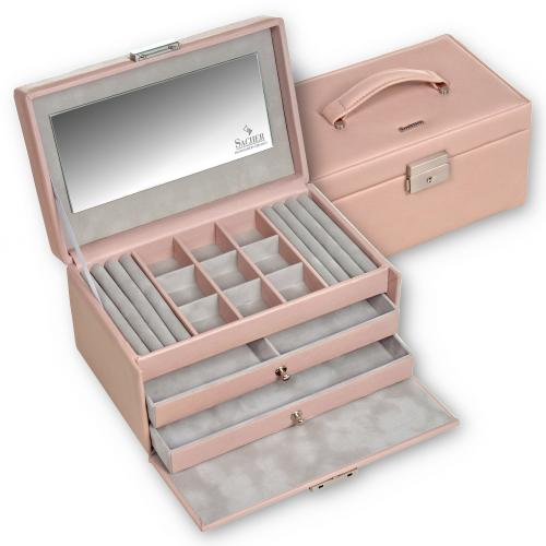 jewellery case Elly, leather, rose, pastello