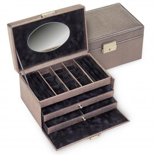 jewellery case Elly, taupe, lagarto
