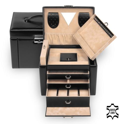 jewellery case Maxima, leather, black, new classic
