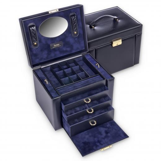 jewellery box Marta, leather, navy, acuro