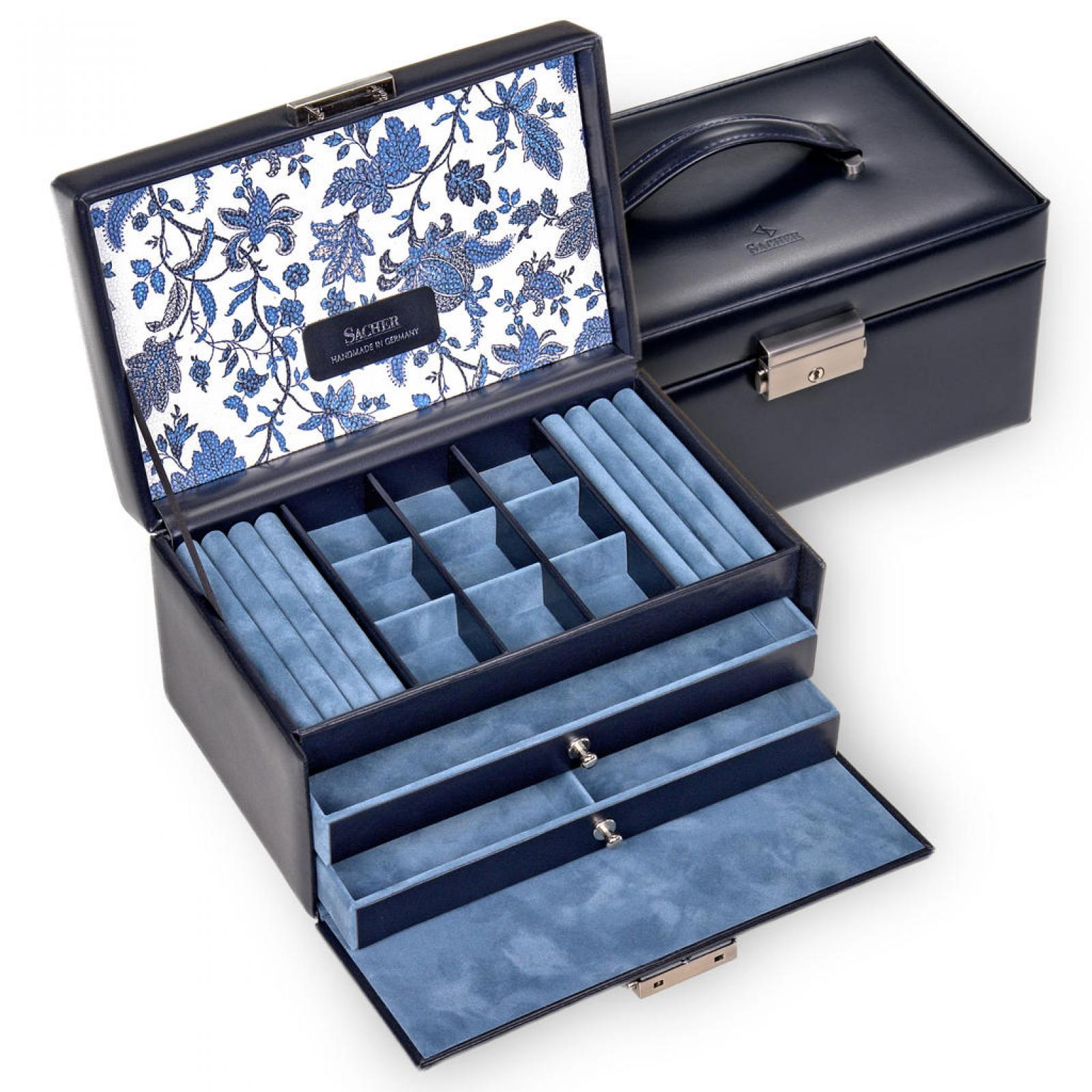 jewellery case Elly/ navy (leather)