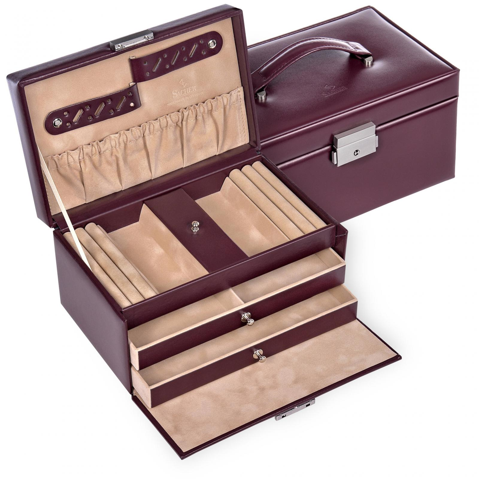 jewellery case Eva/ bordeaux (leather)