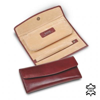 jewellery roll , cowhide leather, bordeaux, new classic