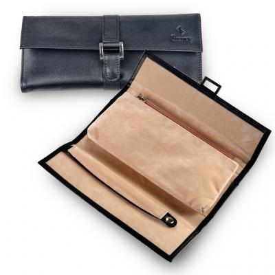 jewellery roll , leather, black, new classic