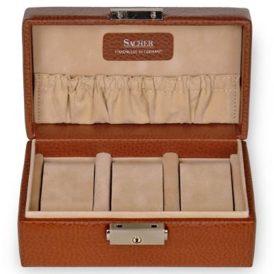 case for 3 watches / cognac
