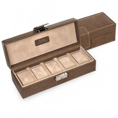 case for 5 watches , brown, ranch