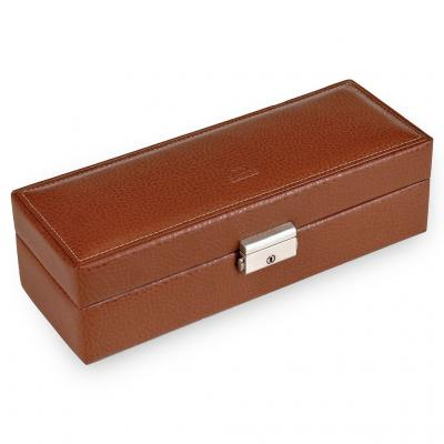 case for 5 watches / cognac