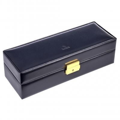 case for 5 watches , leather, navy, acuro