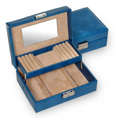 *While stock lasts* jewellery box Britta, blue, coloranti