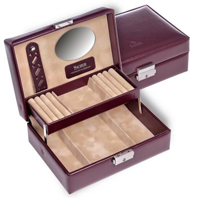 jewellery box Britta, leather, bordeaux, new classic