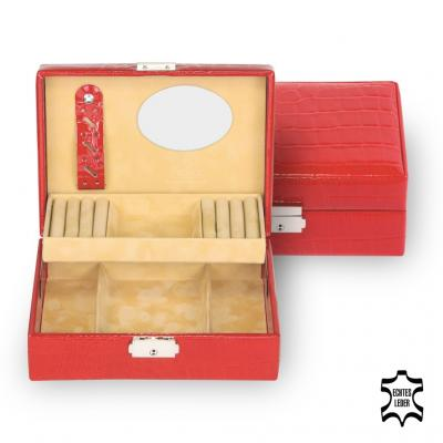 jewellery box Britta, leather, red, crocodile