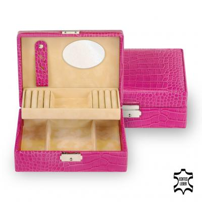 jewellery box Britta, leather, pink, crocodile