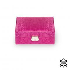 jewellery box Britta, leather, pink, crocodile