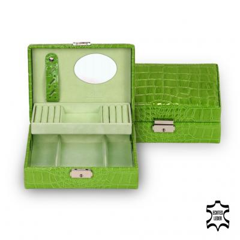 *While stock lasts* jewellery box Britta, leather, apple, crocodile