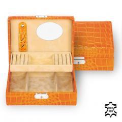 jewellery box Britta/ orange (leather)