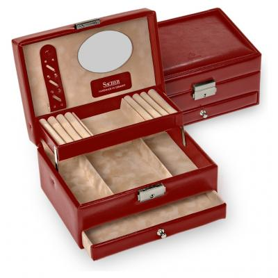 jewellery box Carola, red, new classic