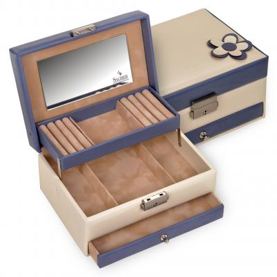 *While stock lasts* jewellery box Carola | cream-blue | bella fiore