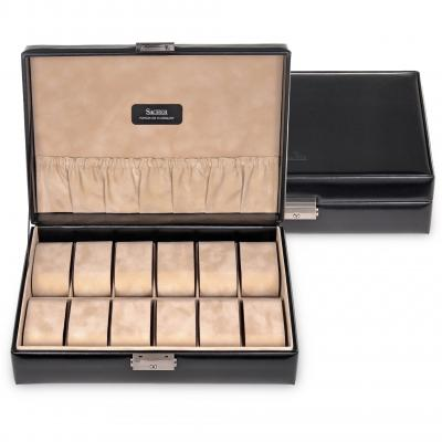 case for 12 watches / black (leather)