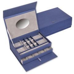 jewellery box , blue, denim
