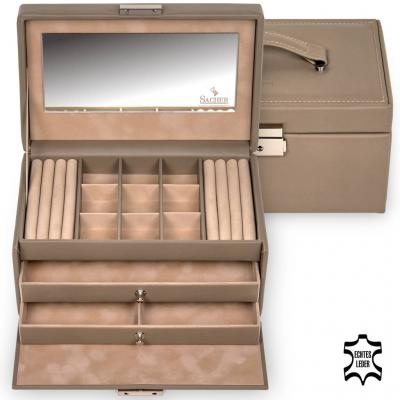 jewellery case Elly, leather, taupe, nature