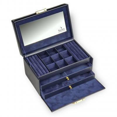 jewellery case Elly, leather, navy, acuro