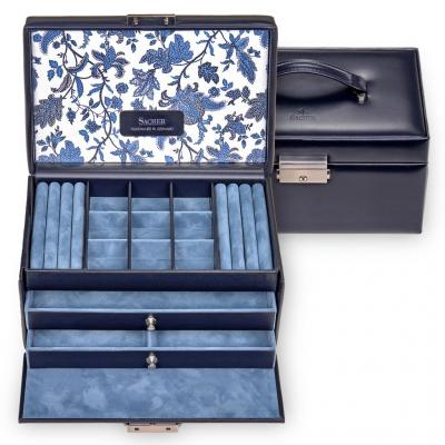 jewellery case Elly, leather, navy, florage