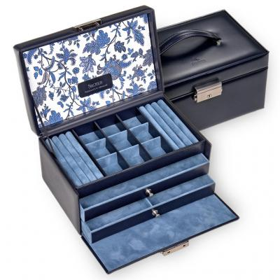 jewellery case Elly, leather | navy | florage