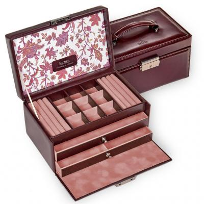jewellery case Elly, bordeaux, florage