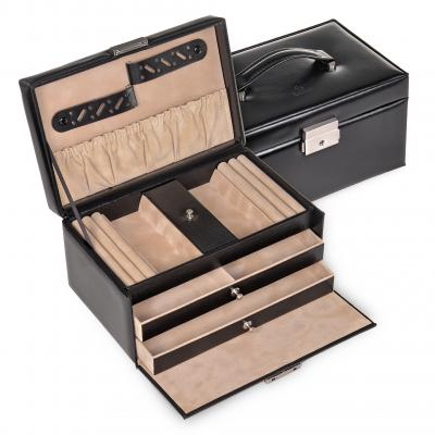 jewellery case Eva, leather, black, new classic