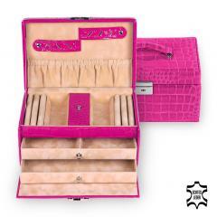 jewellery case Eva/ pink (leather)