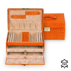 jewellery case Eva/ orange (leather)