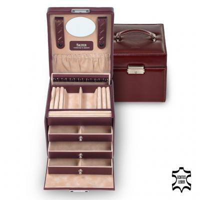 jewellery case Erika, leather, bordeaux, new classic