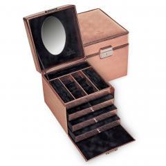 *While stock lasts* jewellery case Evita | rose gold | lagarto