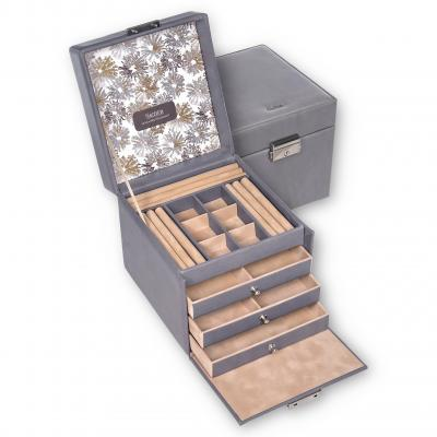 jewellery case Evita, leather, grey, fleur venice