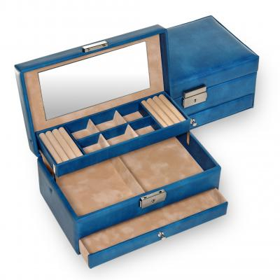 *While stock lasts* jewellery case Helen, blue, coloranti