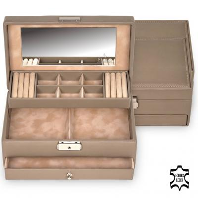 jewellery case Helen, leather | taupe | nature