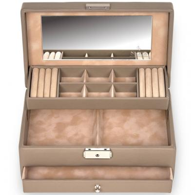 jewellery case Helen, leather, taupe, nature