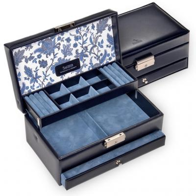 jewellery case Helen, leather, navy, florage