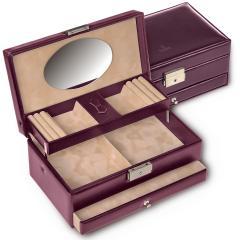 jewellery box Hanna, leather, bordeaux, new classic