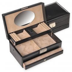 jewellery box Hanna, leather, black, new classic