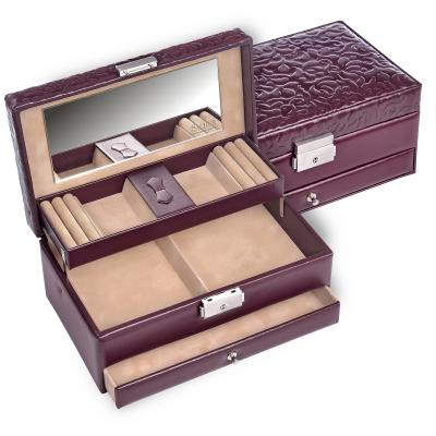 jewellery box Hanna, leather, bordeaux, ornamento