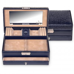 jewellery box Hanna, leather, navy, ornamento