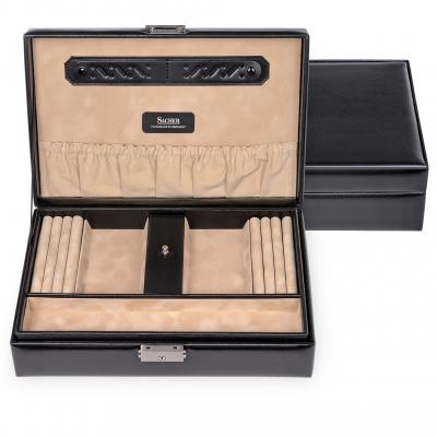 jewellery box Ilka, leather, black, new classic