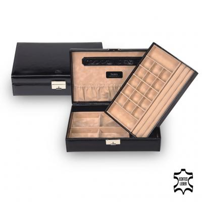 *While stock lasts* jewellery box Isa, leather, black, new classic