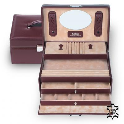 jewellery case Jana, leather, bordeaux, new classic