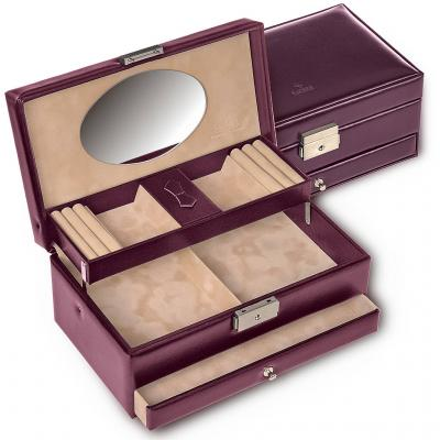 jewellery box Hanna, leather, bordeaux, new classic